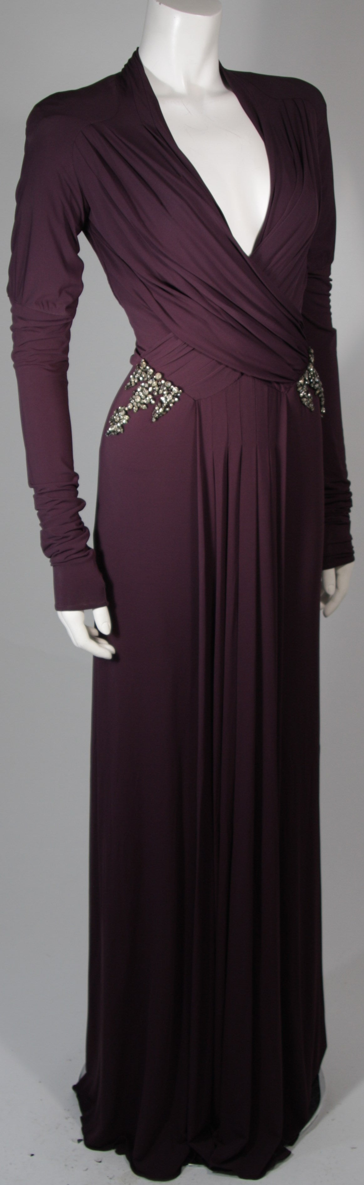 Roberto Cavalli Aubergine Long Sleeve Jersey Gown with Embellishments Size 40 4