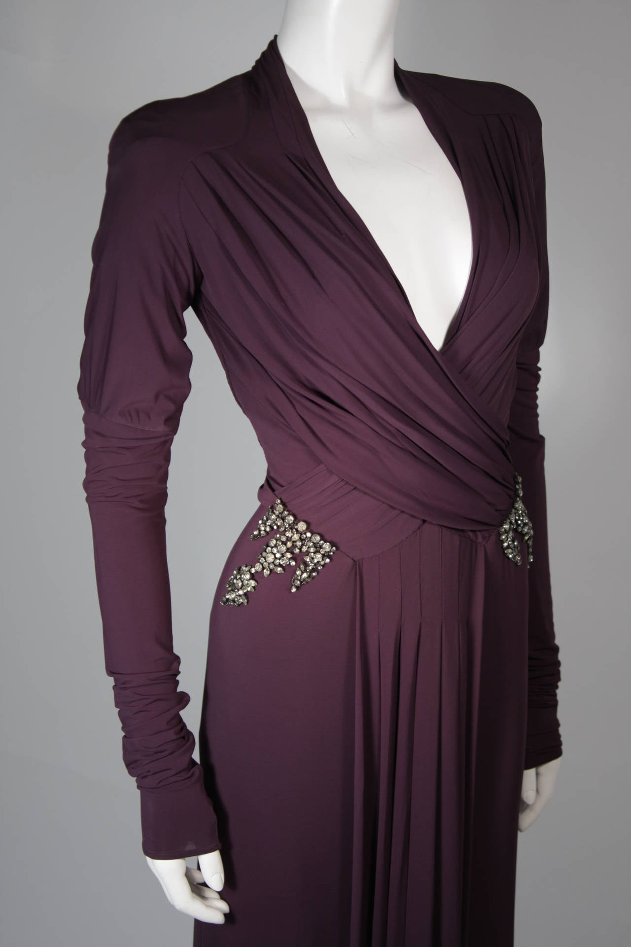 Roberto Cavalli Aubergine Long Sleeve Jersey Gown with Embellishments Size 40 5