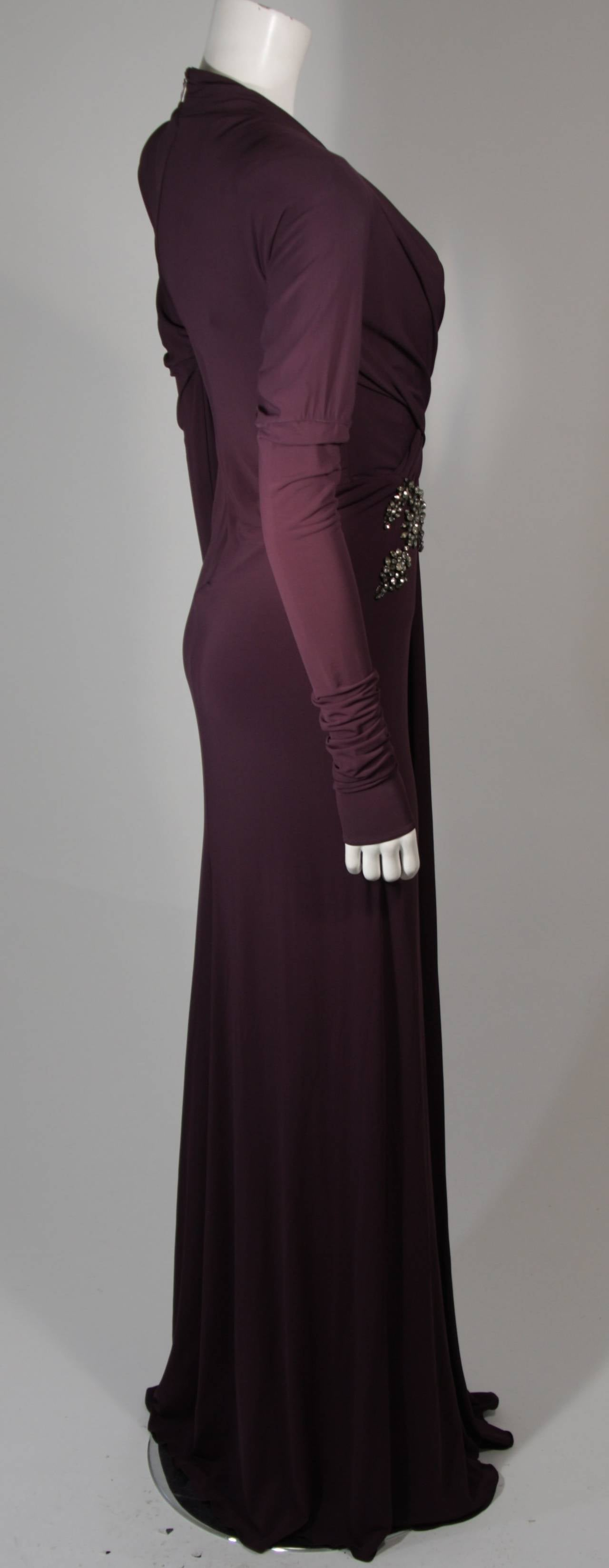 Roberto Cavalli Aubergine Long Sleeve Jersey Gown with Embellishments Size 40 6