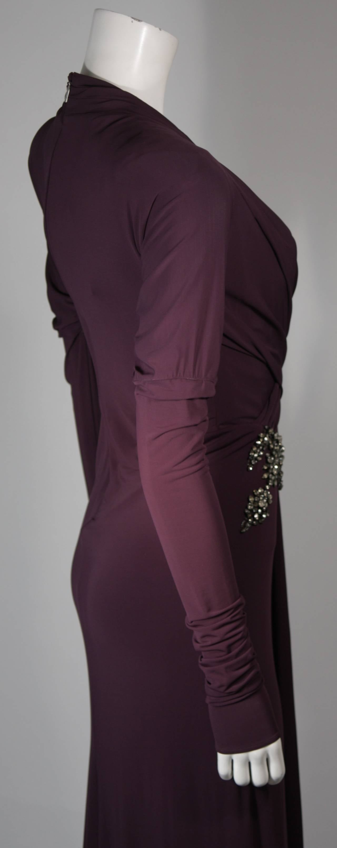 Roberto Cavalli Aubergine Long Sleeve Jersey Gown with Embellishments Size 40 7