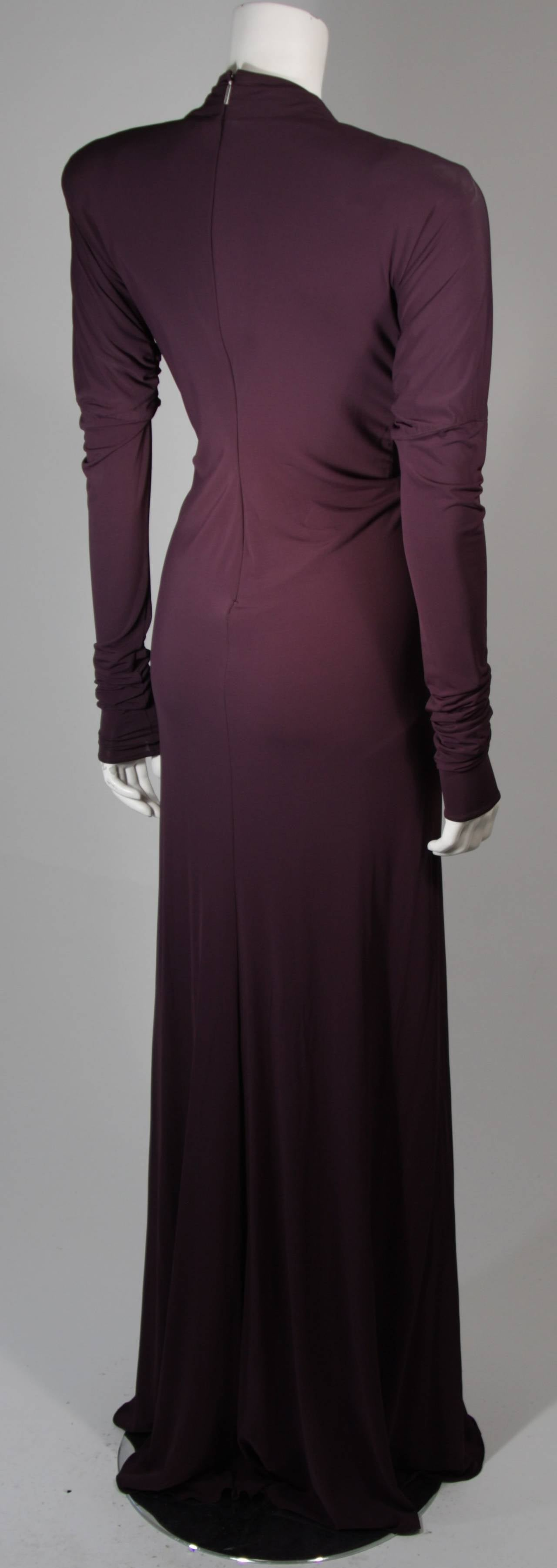 Roberto Cavalli Aubergine Long Sleeve Jersey Gown with Embellishments Size 40 8