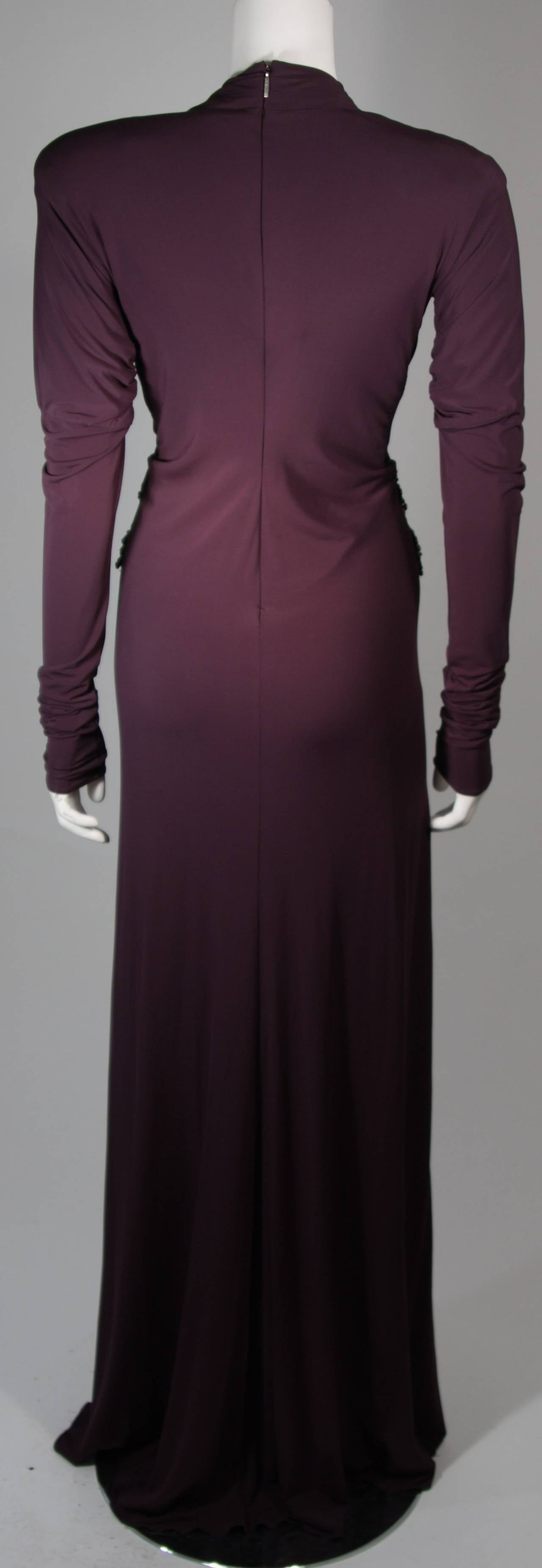 Roberto Cavalli Aubergine Long Sleeve Jersey Gown with Embellishments Size 40 9