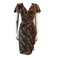 Paco Rabanne Paris Watercolor Animal Camouflage Print Ruffle Day Dress