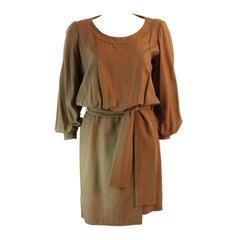 Chic Yves Saint Laurent Silk Camel Dress Size 36