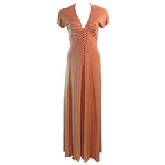 Late 1970's Stephen Burrows V-neck Empire Waist Long Striped Jersey Dress