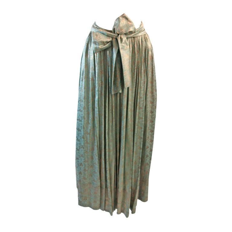 Stunning 1950's Turquoise and Bronze Brocade skirt