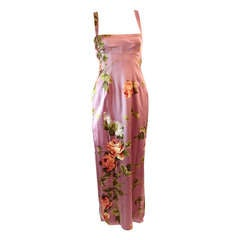 Dolce and Gabbana Stretch Silk Lilac Floral Gown Size 44
