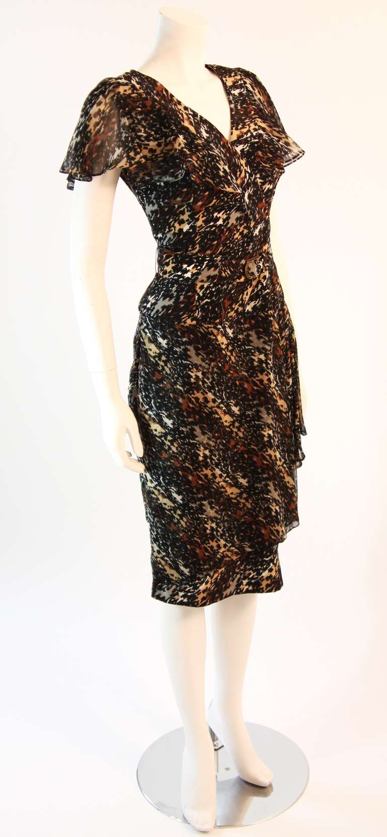 Paco Rabanne Paris Watercolor Animal Camouflage Print Ruffle Day Dress In Excellent Condition For Sale In Los Angeles, CA