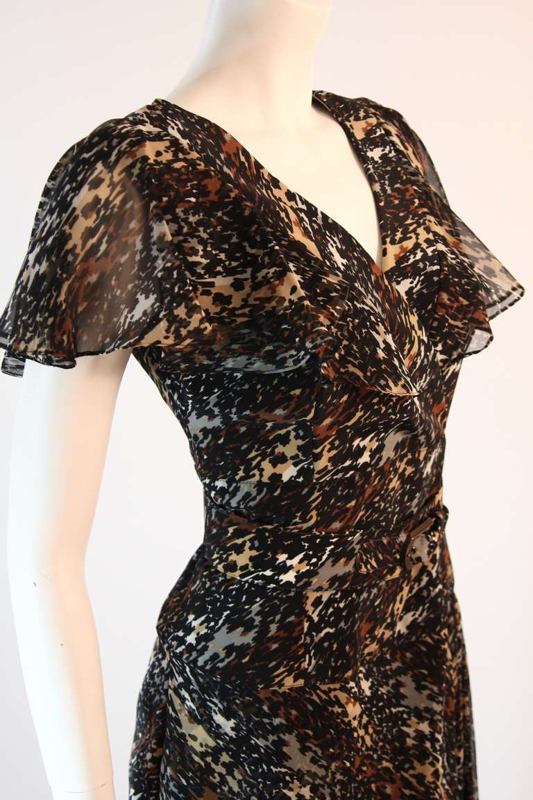 Women's Paco Rabanne Paris Watercolor Animal Camouflage Print Ruffle Day Dress For Sale