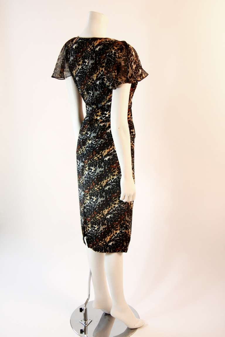 Paco Rabanne Paris Watercolor Animal Camouflage Print Ruffle Day Dress For Sale 1