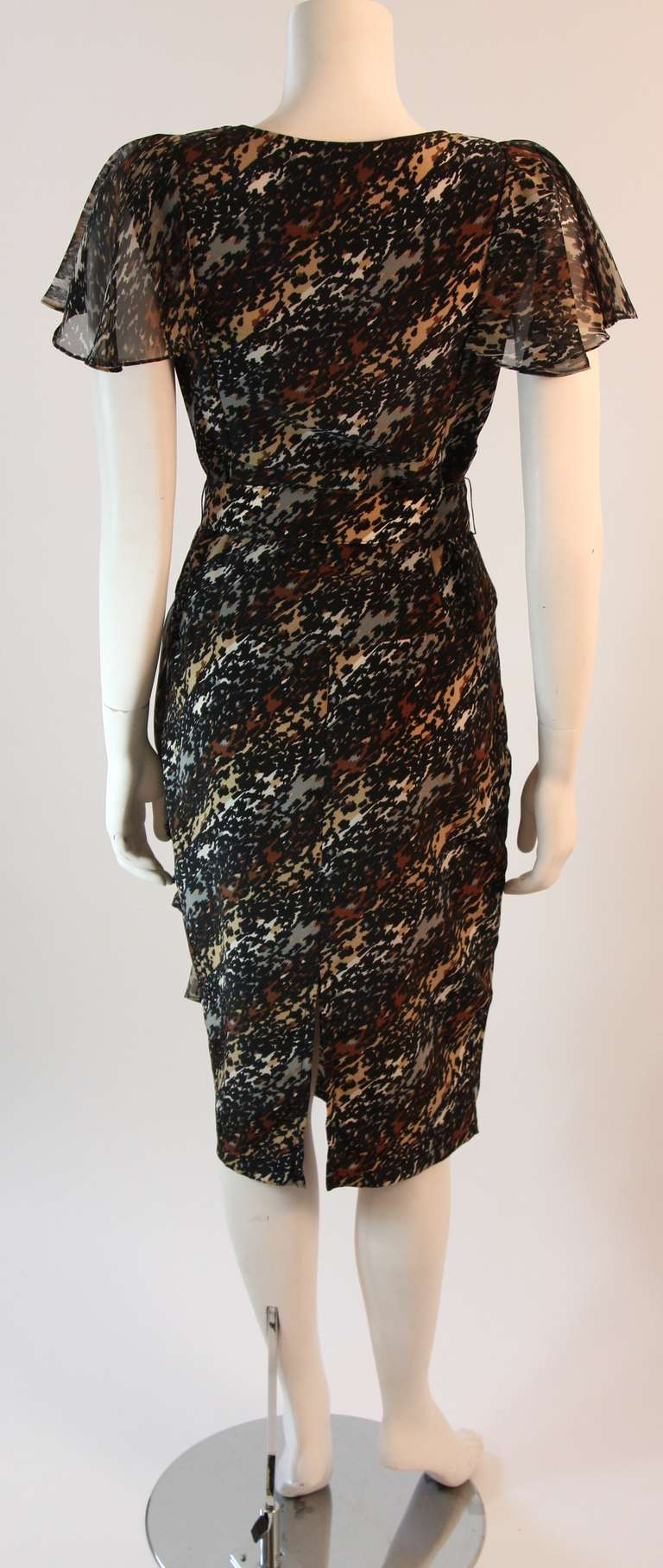 Paco Rabanne Paris Watercolor Animal Camouflage Print Ruffle Day Dress For Sale 2