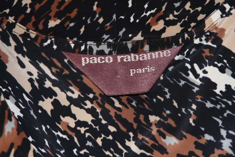 Paco Rabanne Paris Watercolor Animal Camouflage Print Ruffle Day Dress For Sale 5
