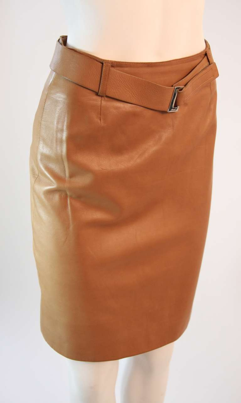 prada self belted caramel leather skirt with silver buckle