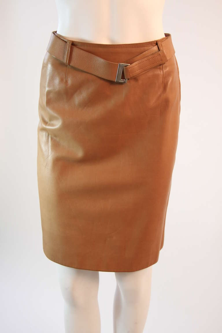 prada caramel leather skirt size 36 at 1stdibs