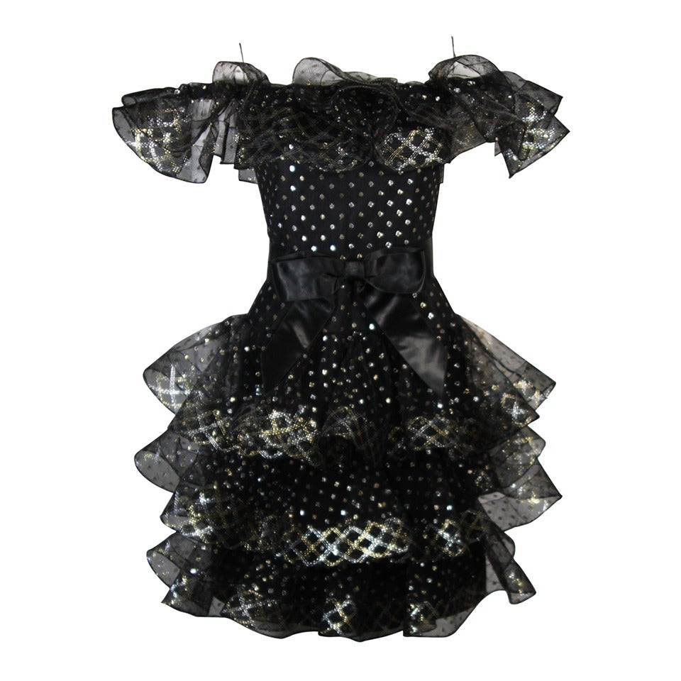 Victor Costa Black with Gold and Silver Metallic Accents Cocktail Dress Size 2 For Sale