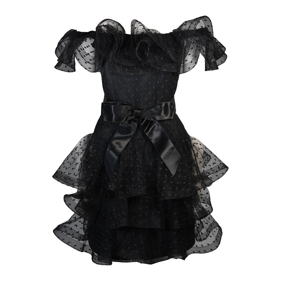 Victor Costa Black Cocktail Dress with Ruffled Horsehair Hemlines Size 2 For Sale