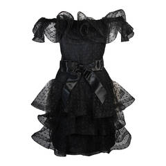 Victor Costa Black Cocktail Dress with Ruffled Horsehair Hemlines Size 2