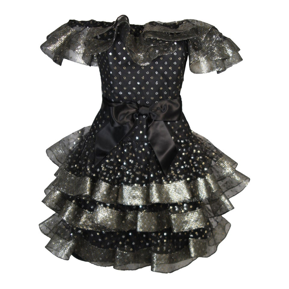 Victor Costa Black Ruffled Cocktail Dress with Silver and Gold Polka Dots Size 2 For Sale