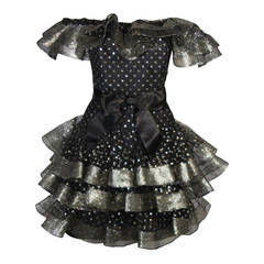 Victor Costa Black Ruffled Cocktail Dress with Silver and Gold Polka Dots Size 2