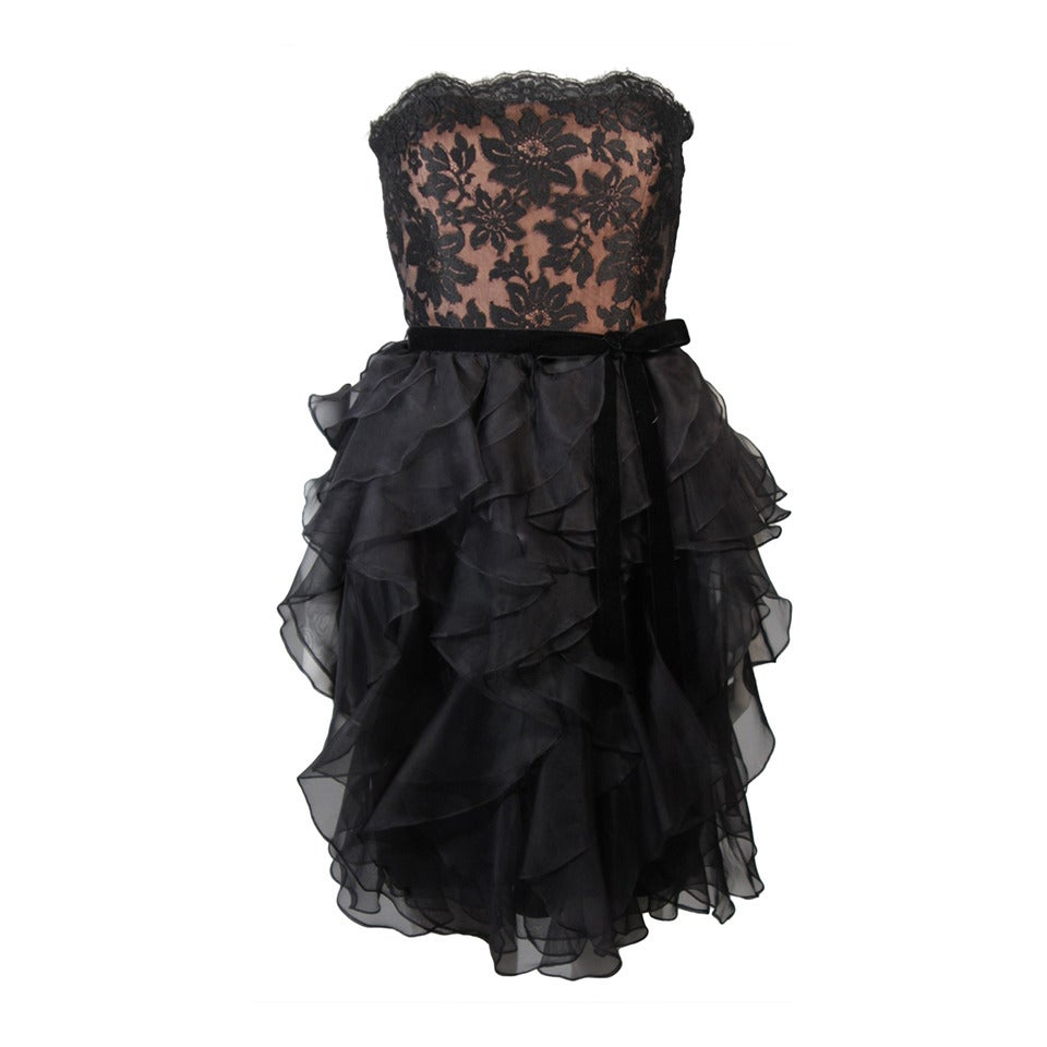 Jill Richards Black Lace Cocktail Dress with Layered Silk Skirt Size 6