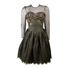 Victor Costa Black Cocktail Dress with Gold Metallic Accents Size Small