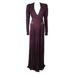 Roberto Cavalli Aubergine Long Sleeve Jersey Gown with Embellishments Size 40