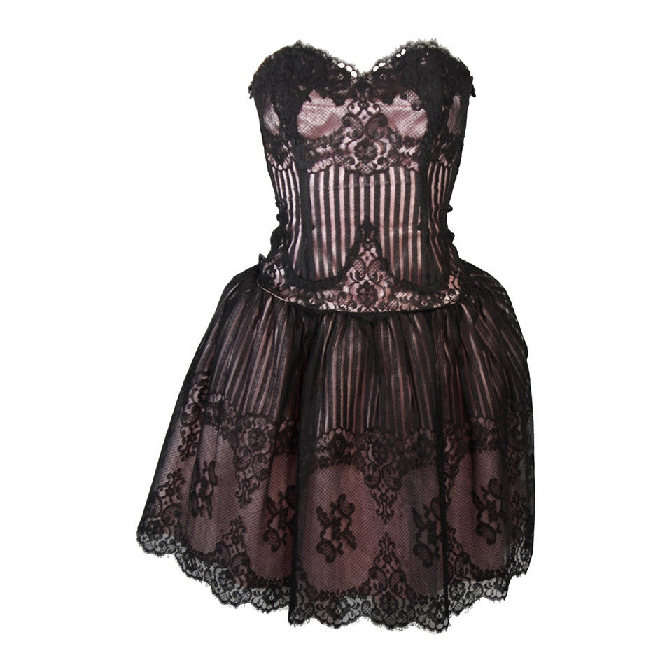 Victor Costa Strapless Black Lace Cocktail Dress with Pink Satin Size 40 For Sale