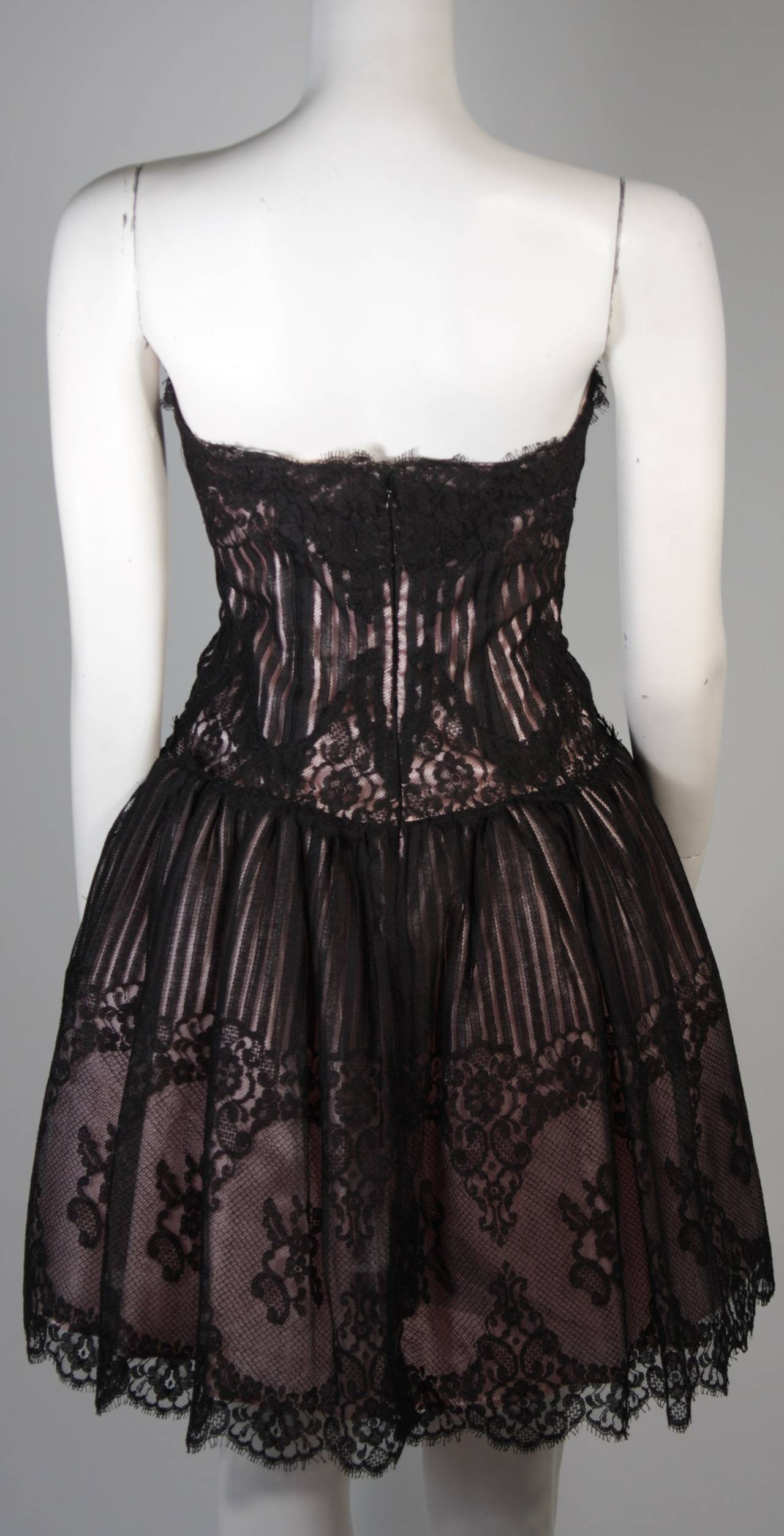 Victor Costa Strapless Black Lace Cocktail Dress with Pink Satin Size 40 For Sale 3