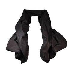 Bob Mackie Dramatic Black Taffeta Evening Coat with Propped Collar Size 2 4 6