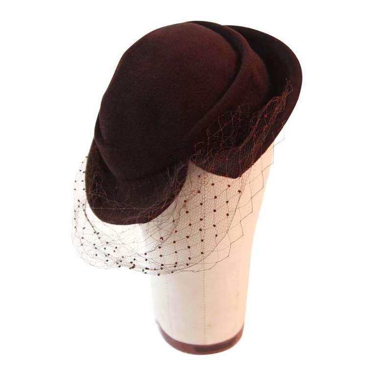 Hattie Carnegie Brown Fur Felt Split Brim Hat