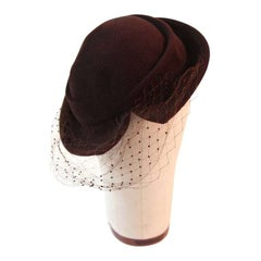 Hattie Carnegie Brown Fur Felt Split Brim Hat
