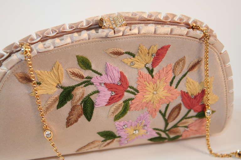 Judith Leiber Embroidered Silk Clutch 4