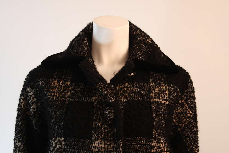 1950's Don Loper White and Black Velvet Trim Checker Plaid Cocoon Coat 3