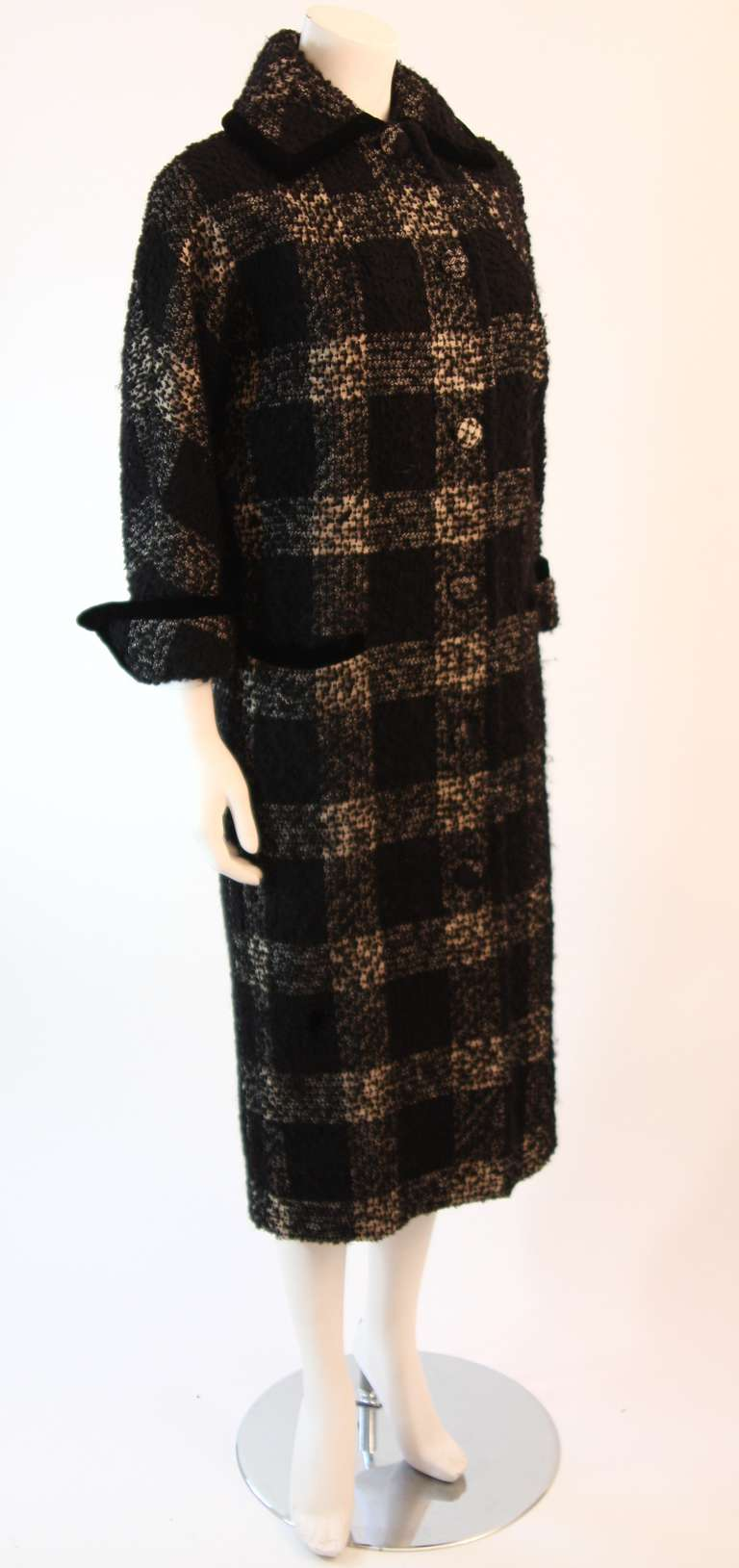1950's Don Loper White and Black Velvet Trim Checker Plaid Cocoon Coat 2