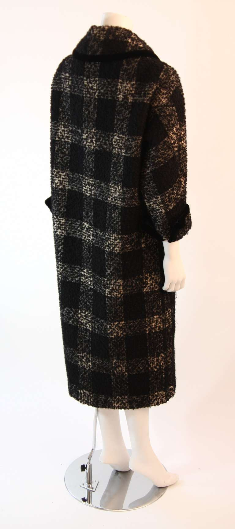 1950's Don Loper White and Black Velvet Trim Checker Plaid Cocoon Coat 6