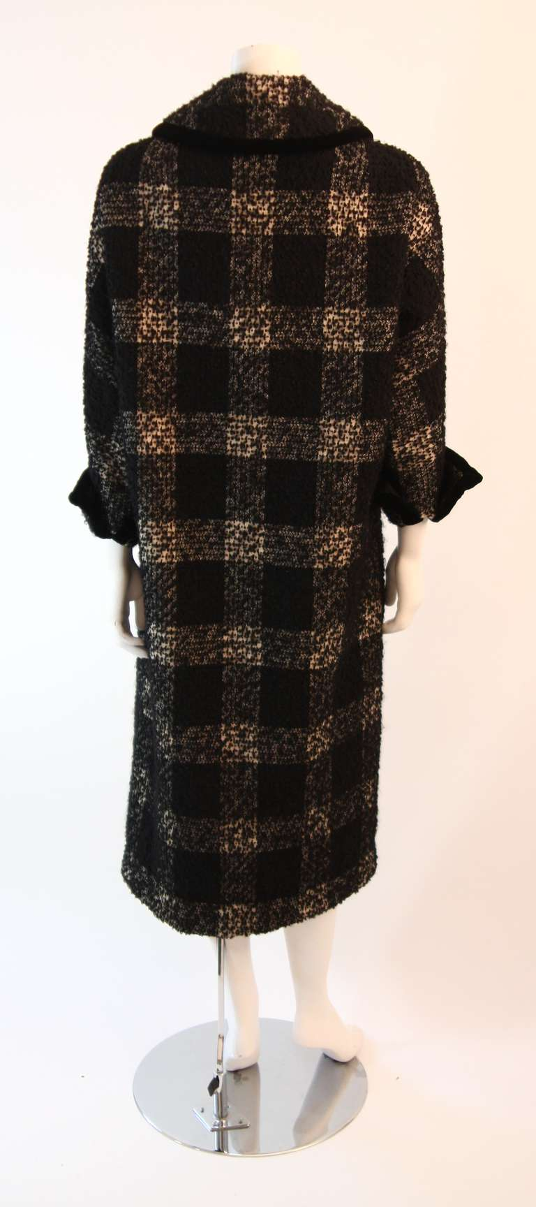 1950's Don Loper White and Black Velvet Trim Checker Plaid Cocoon Coat 7