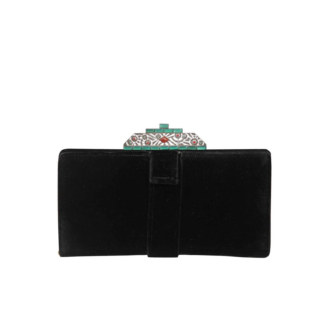 Vintage Deco Velvet Evening Clutch with Jewel Details 1