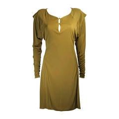 Holly Harp Curry Grünes Langarm Jersey Kleid, Größe Petite
