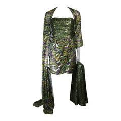 Bill Blass Strapless Dress Ensemble with Blazer & One Shoulder Wrap XS Petite