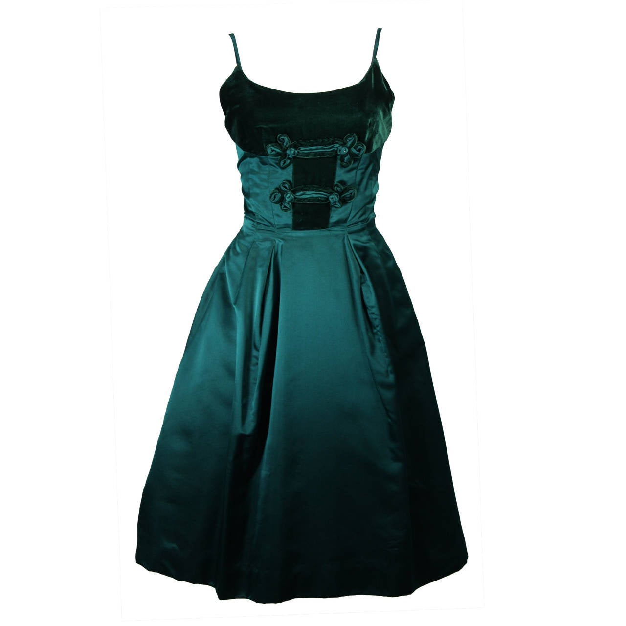 Oleg Cassini Emerald Silk and Velvet Applique Dress Size Small For Sale