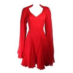 Travilla Red Silk Chiffon Godet Dress with Shawl Size Small Medium