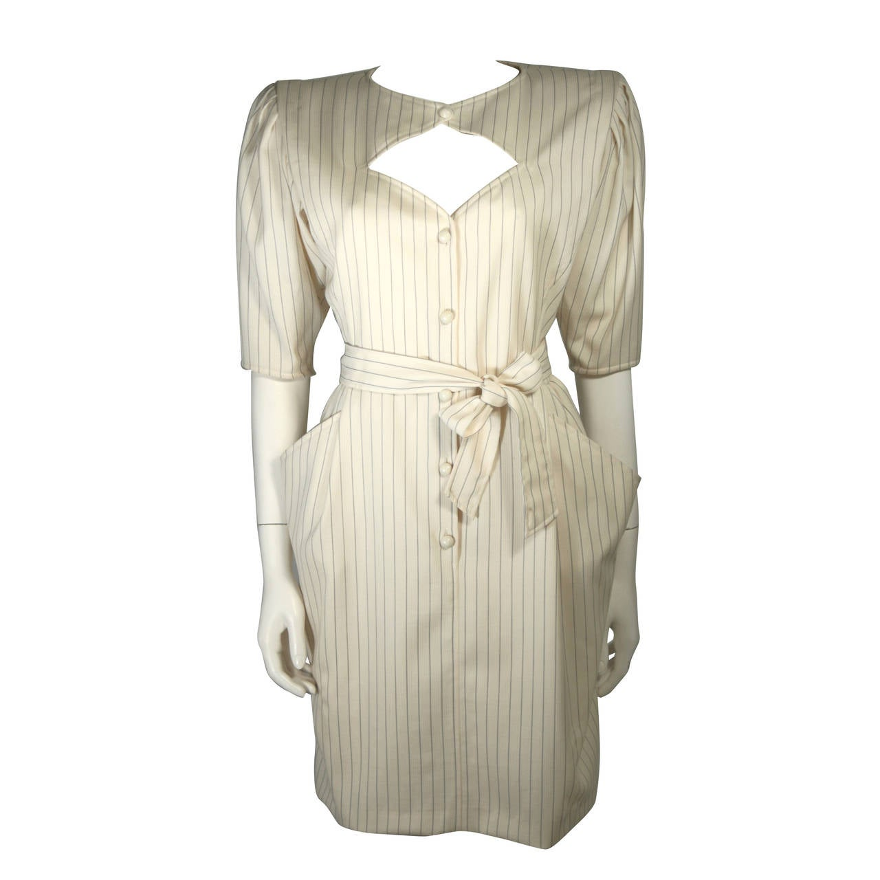 Ungaro Cream Pin Stripe Dress with Center Front Buttons 42 8 For Sale