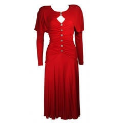 Holly Harp Red Jersey Long Sleeve Dress with Rhinestone Buttons Size Medium
