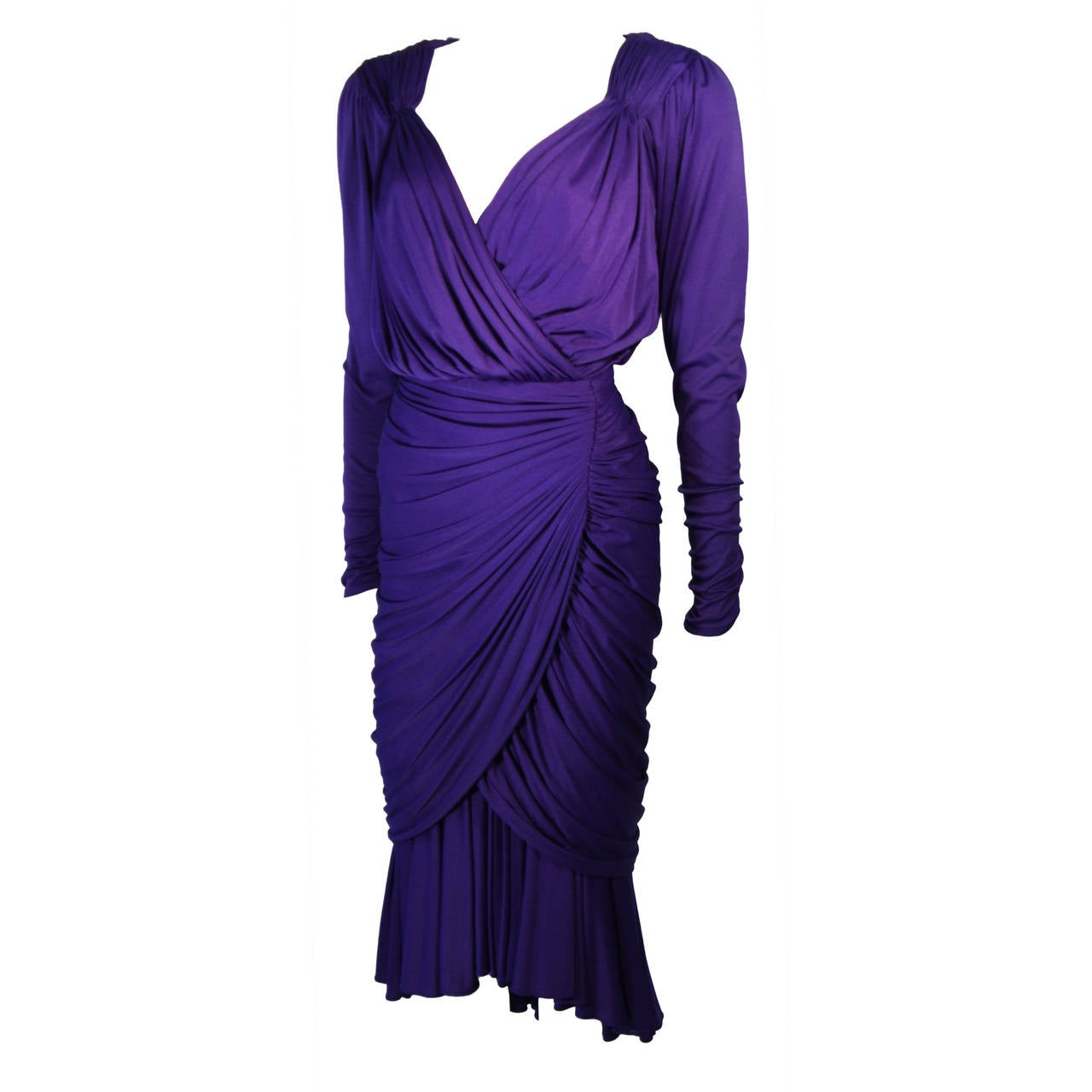Purple Jersey Ruched Long Sleeve Cocktail Dress Size 2 4