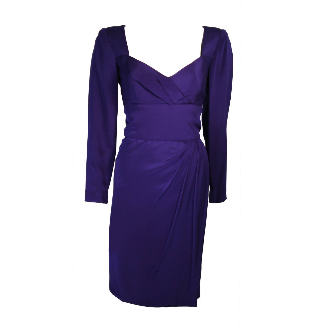 Travilla Purple Silk Long Sleeve Cocktail Dress with Draping Size 8 For Sale