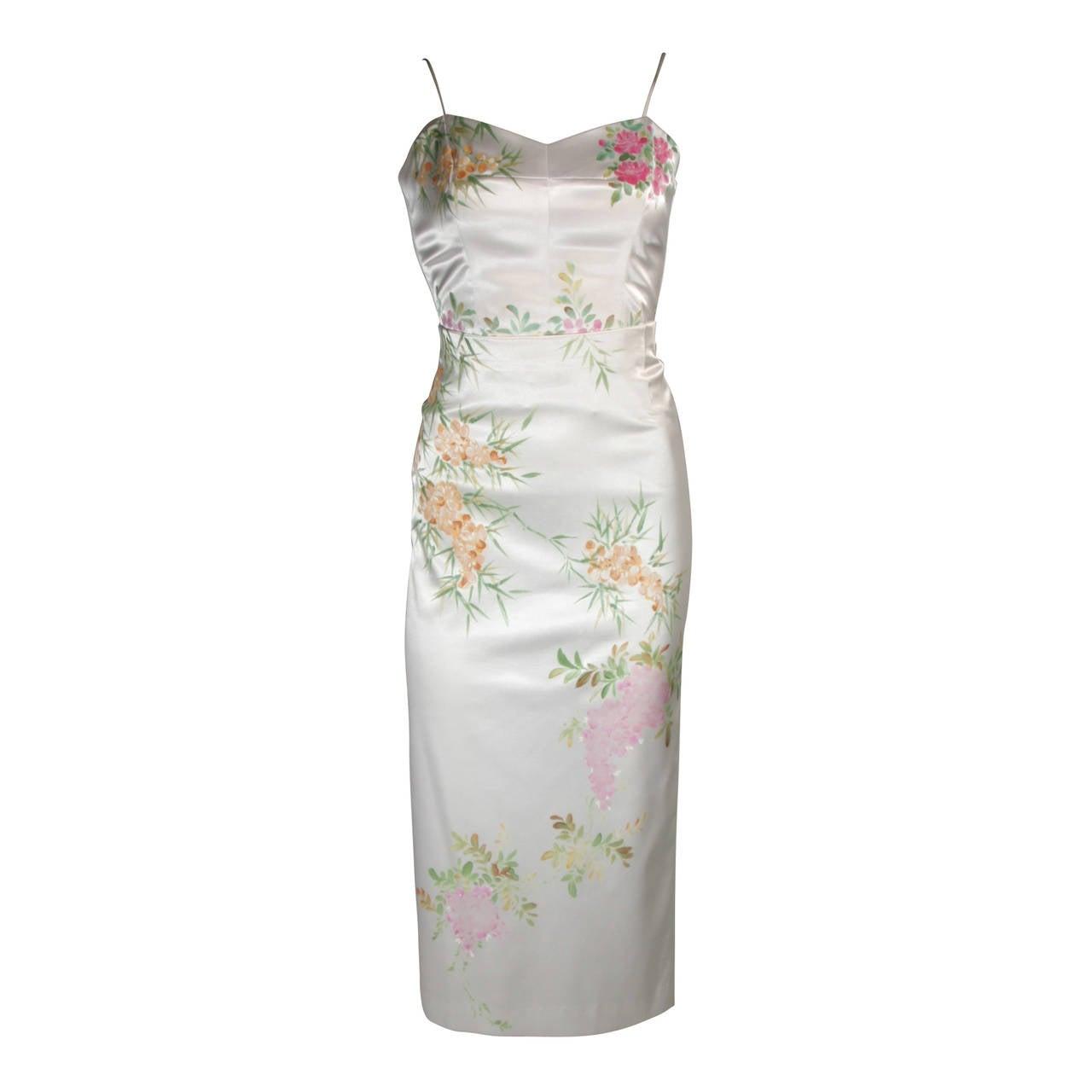 Mandalay White Stretch Silk Skirt Ensemble w. Painted floral design Sz Small