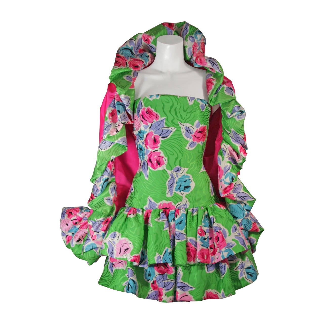Scassi Green Tropical Silk Cocktail Dress & Hot Pink Contrast Ruffle Wrap Size 4