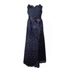 SCAASI Navy Floral Lace Evening Gown with Satin Waist Belt Size 2