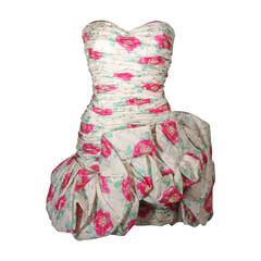 Ungaro White Silk Cocktail Dress with Pink & Green Floral Design Size 8