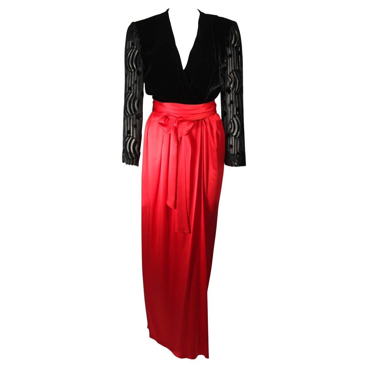 Adele Simpson Burnout Black Velvet and Red Silk Gown Size Small